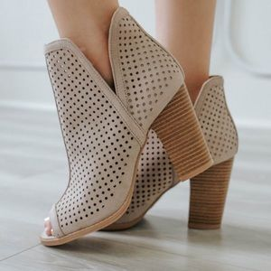 Qupid Cadence Perforated Peep Toe Bootie in Taupe